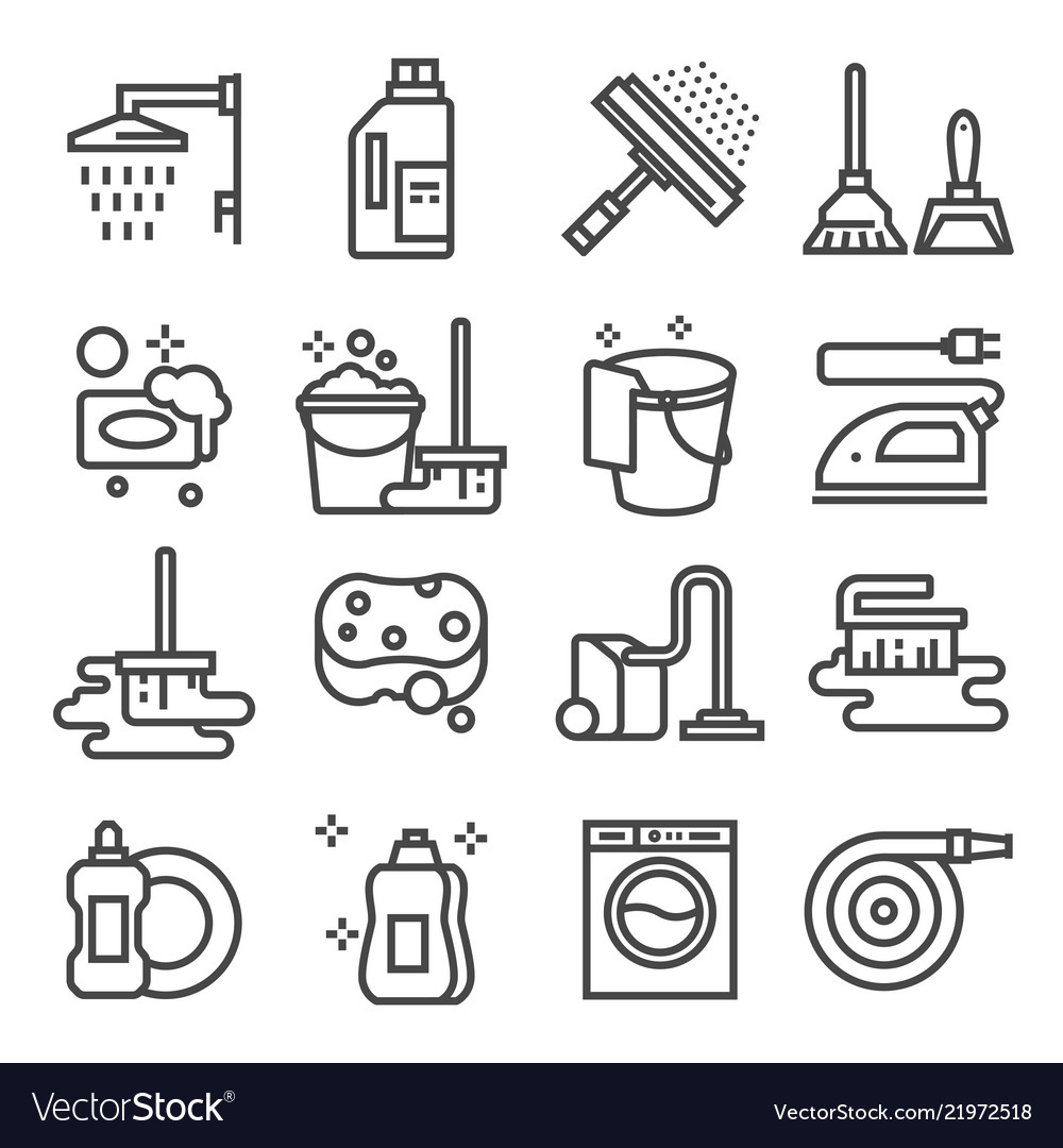 Cleaning service icon set services for cleaning