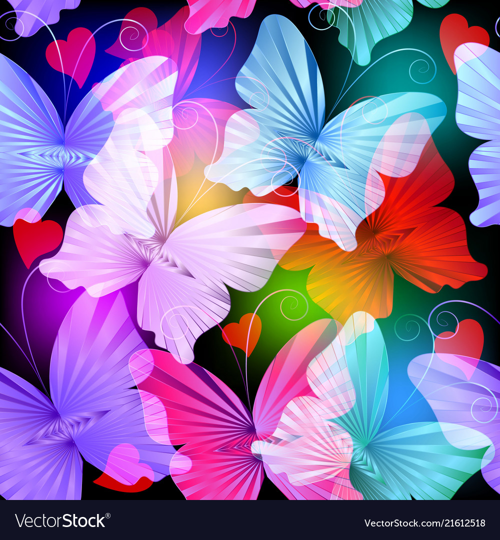 Colorful glowing radial butterflies seamless