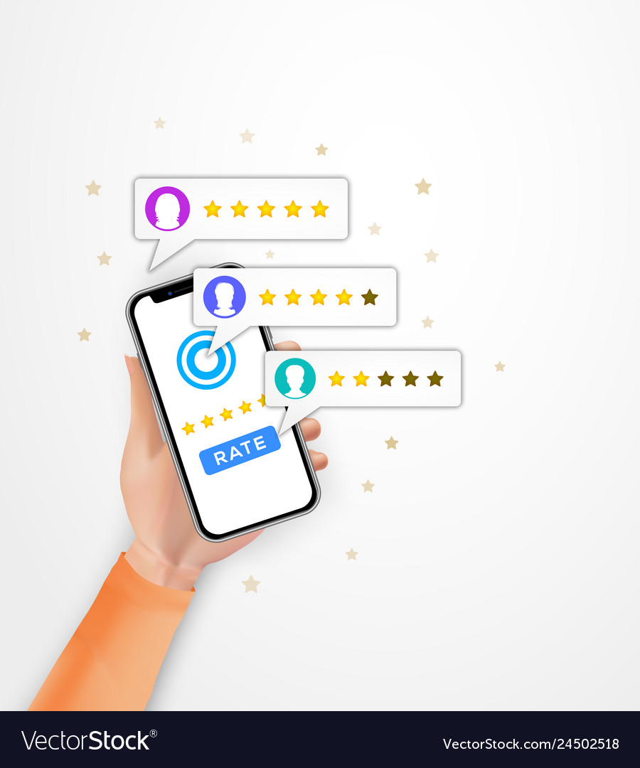 Customer review five star rating on smartphone