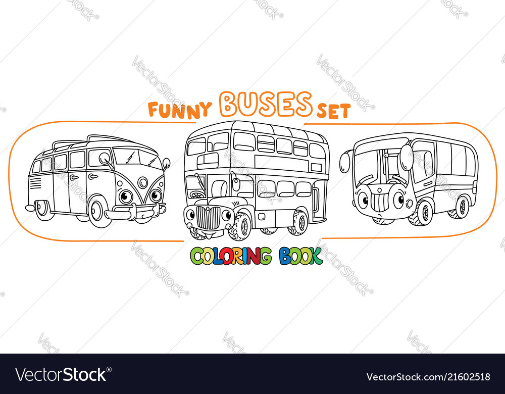 Funny small retro bus with eyes coloring book set