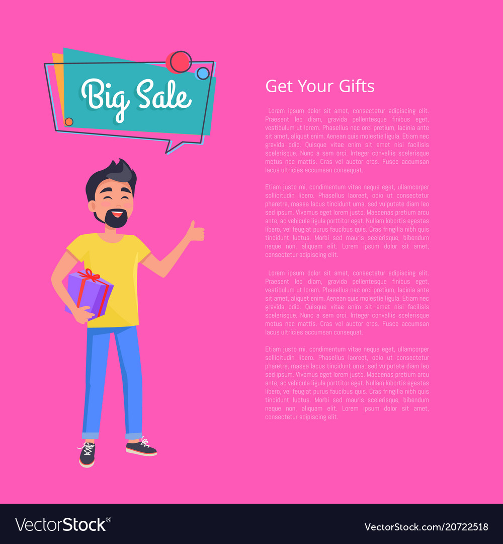 Get your gifts big sale poster man holds box