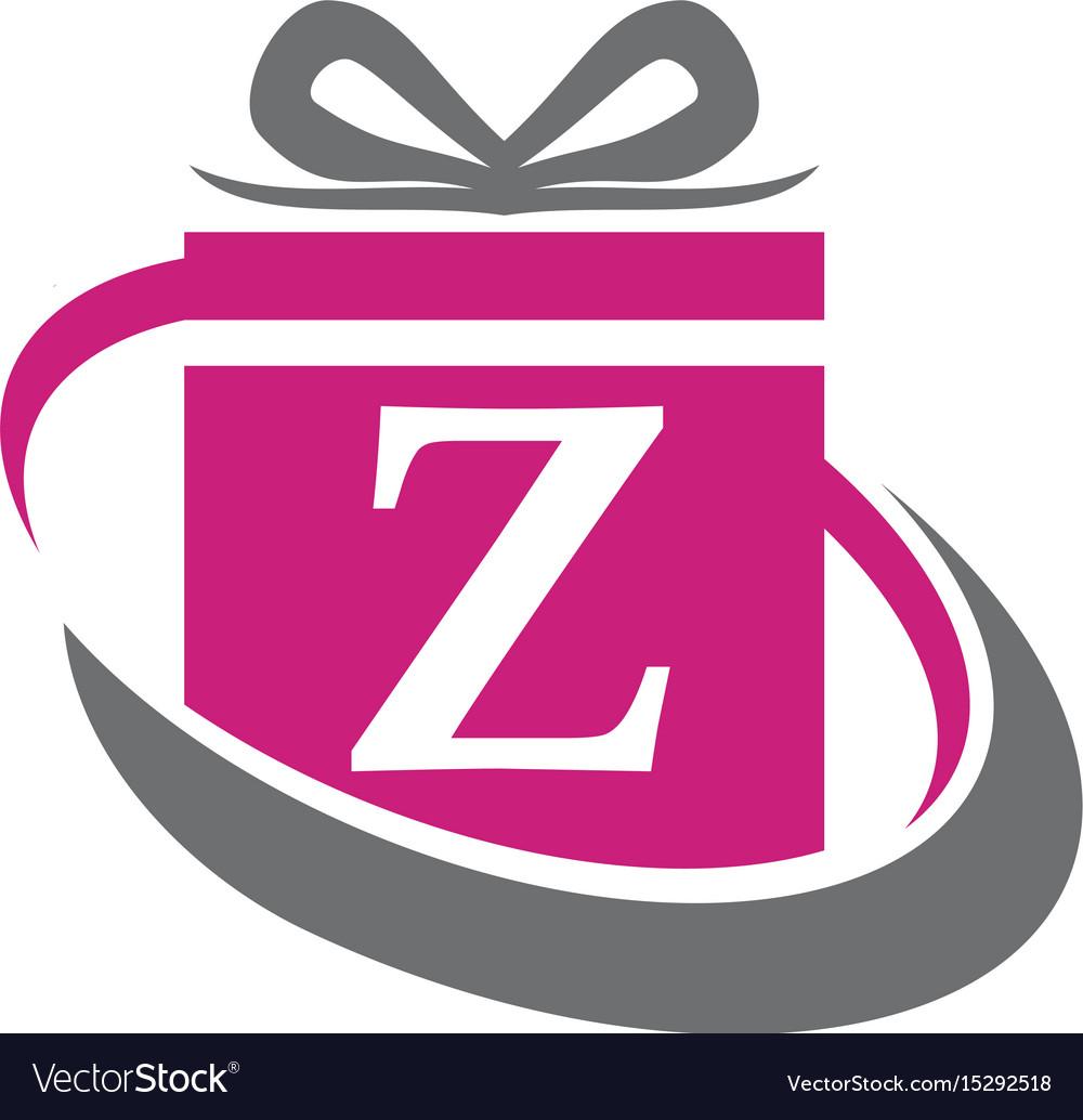 Gift Box Ribbon Letter Z Royalty Free Vector Image