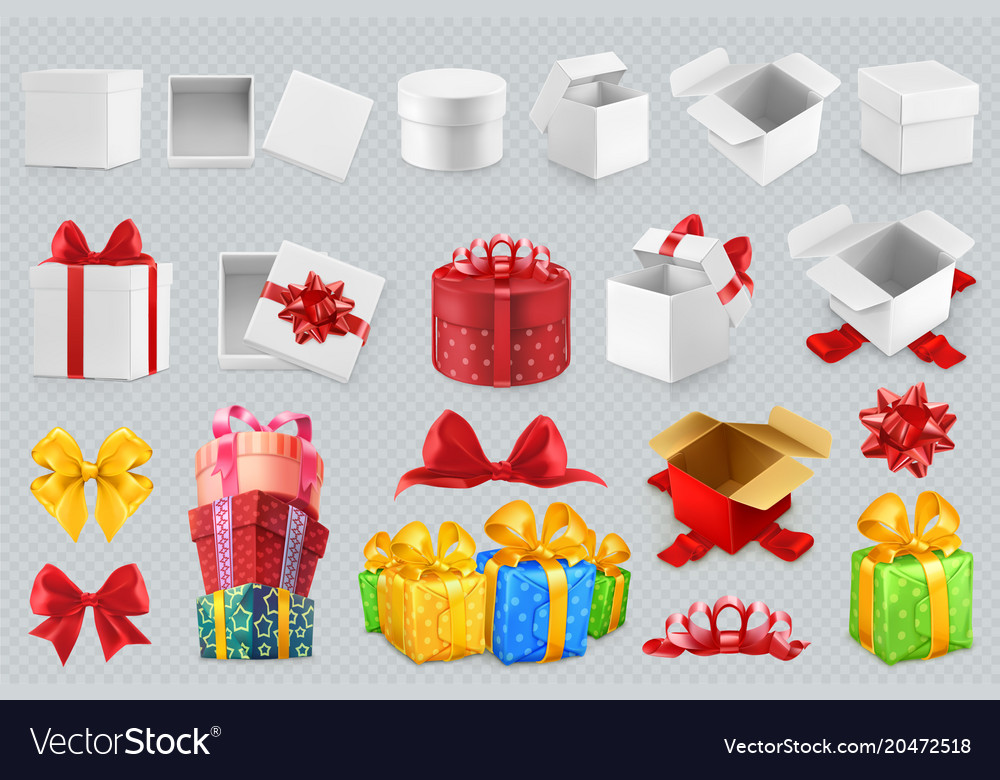Gift boxes with bows 3d set of icons