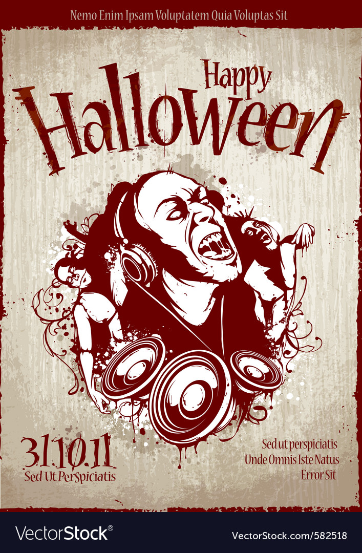 Grungy poster for halloween party