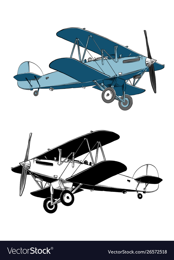 Hand drawn sketch biplane aircraft in color