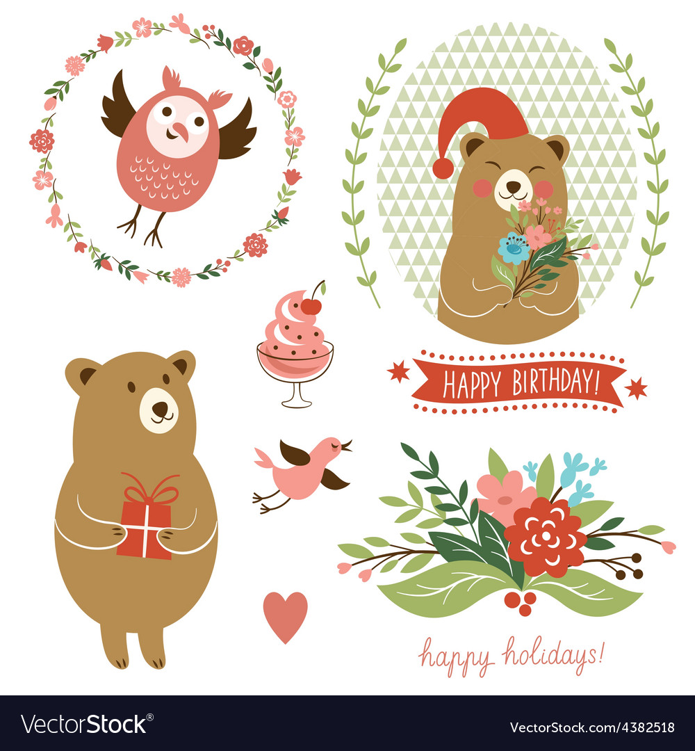 Holiday Clip Art set of cute animals Royalty Free Vector