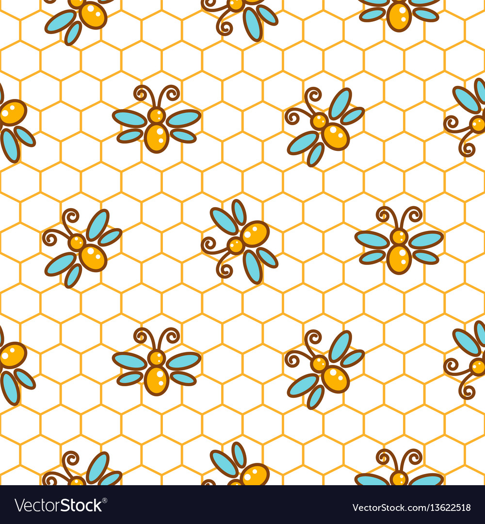 Honeycomb pattern and bees line background