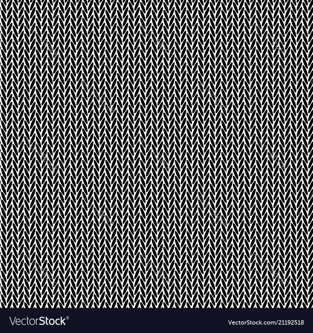 Knitting Texture Wool Black White Seamless Pattern