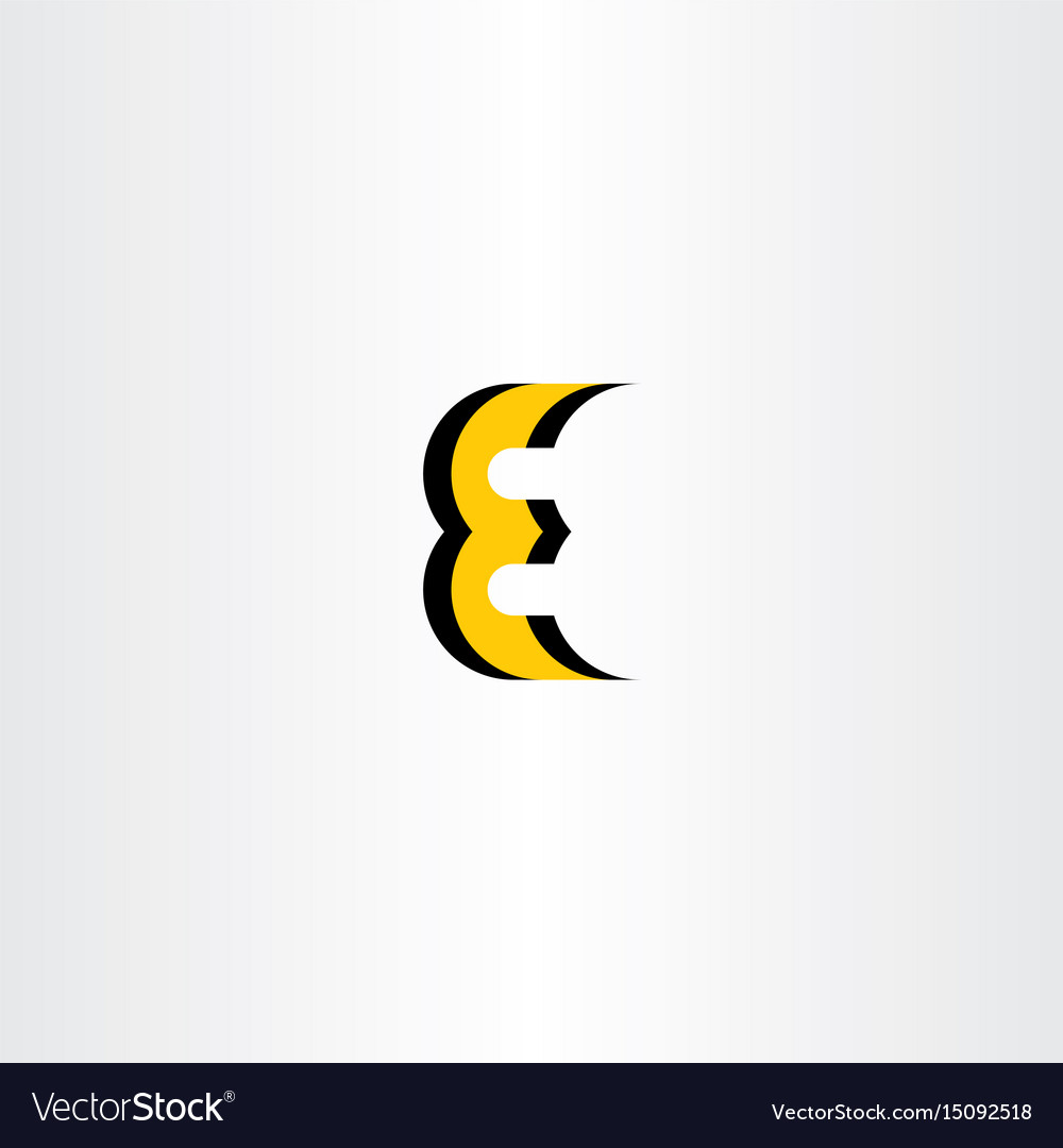 Letter e yellow black icon logo
