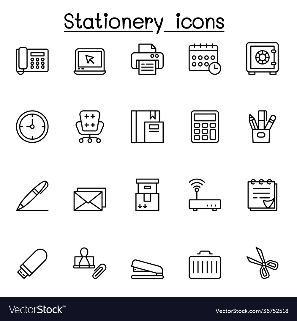 Office stationery icon set in thin line style