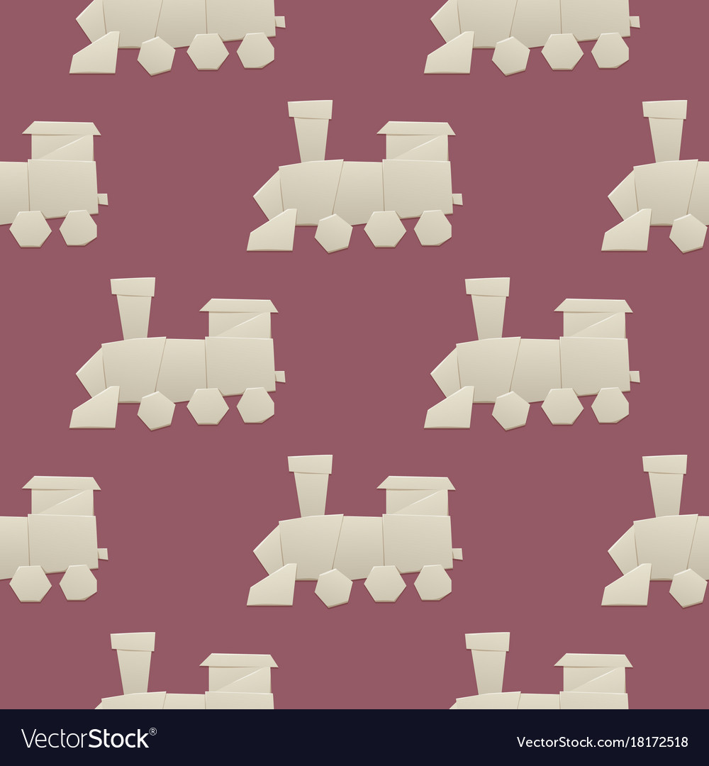 Origami Logistic Paper Train Transport Seamless Vector Image