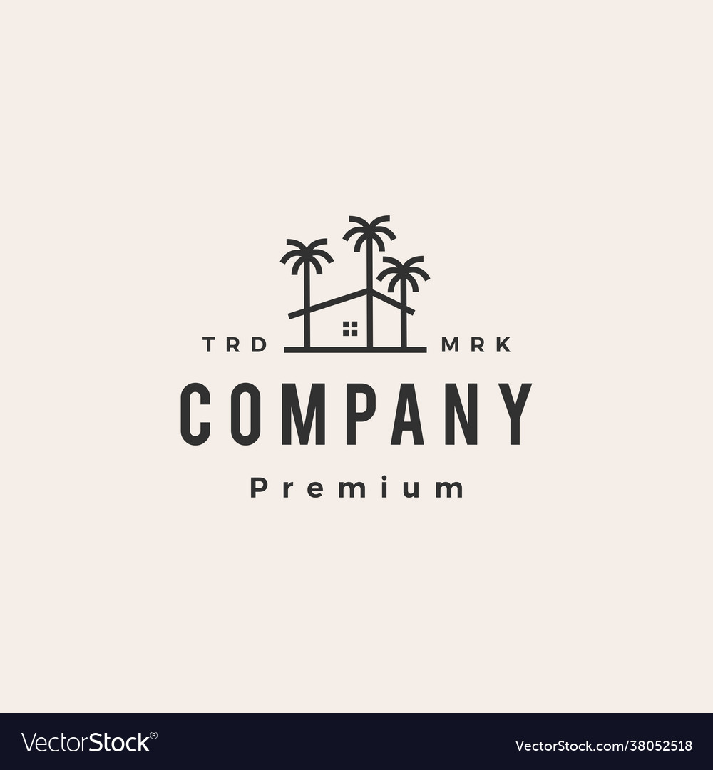 Palm tree house coconut hipster vintage logo icon