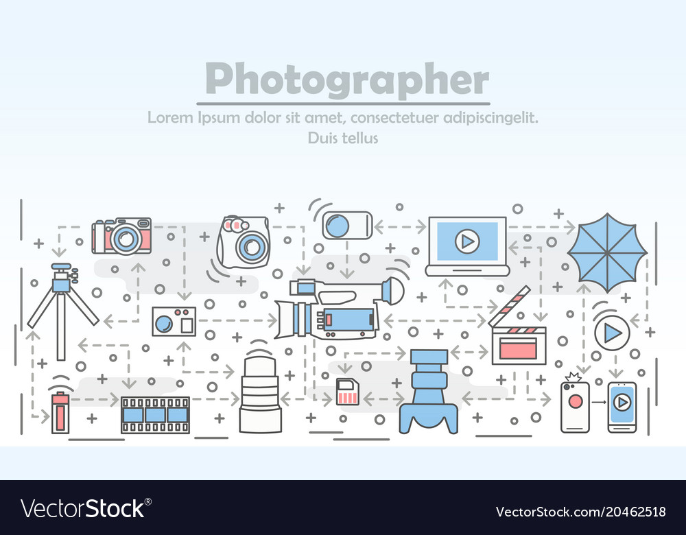 Photography concept flat line art