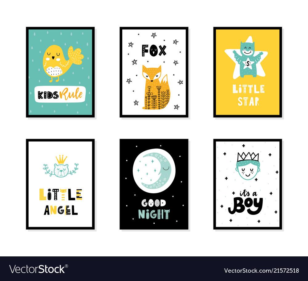 Scandinavian interior kids posters