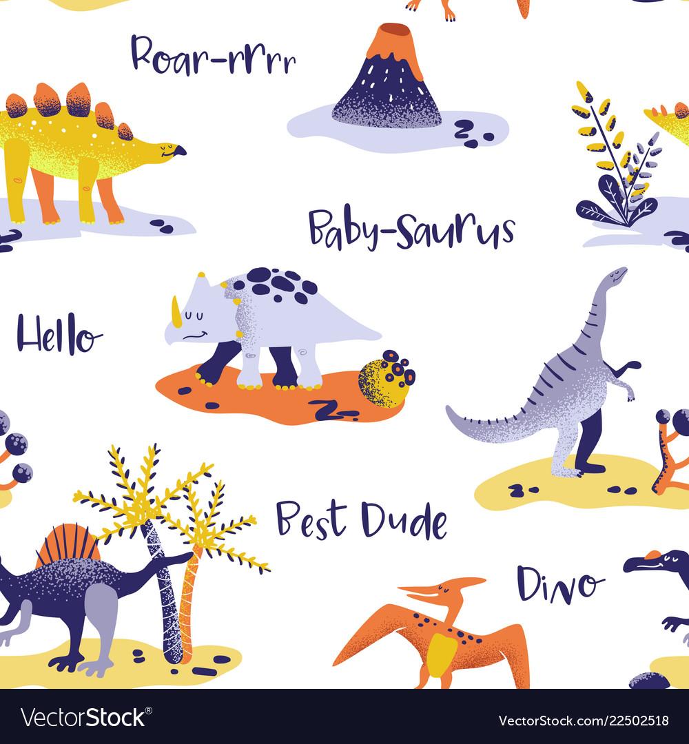 Seamless cartoon dinosaurs pattern babackground