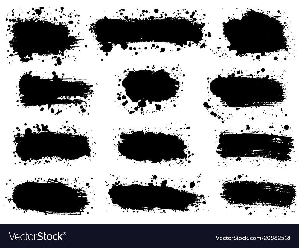 Set splatter hand drawn paint texture black
