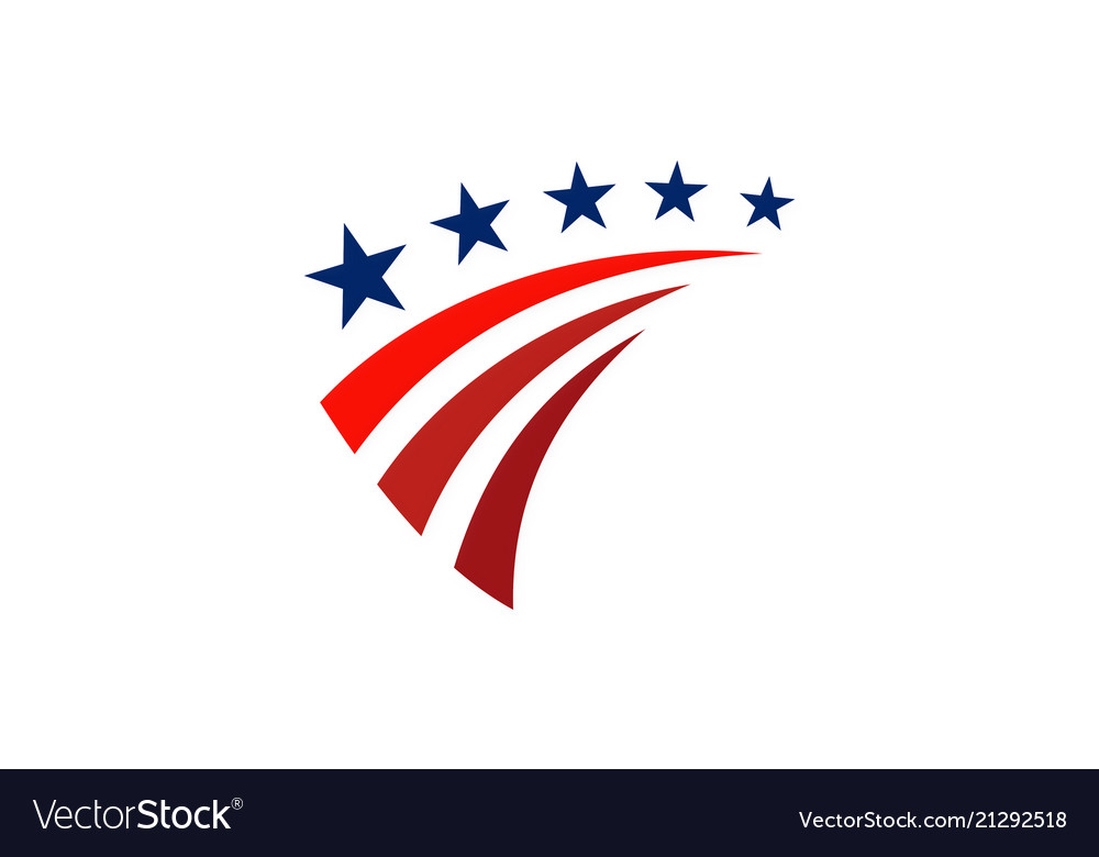 Star america stripe flag logo