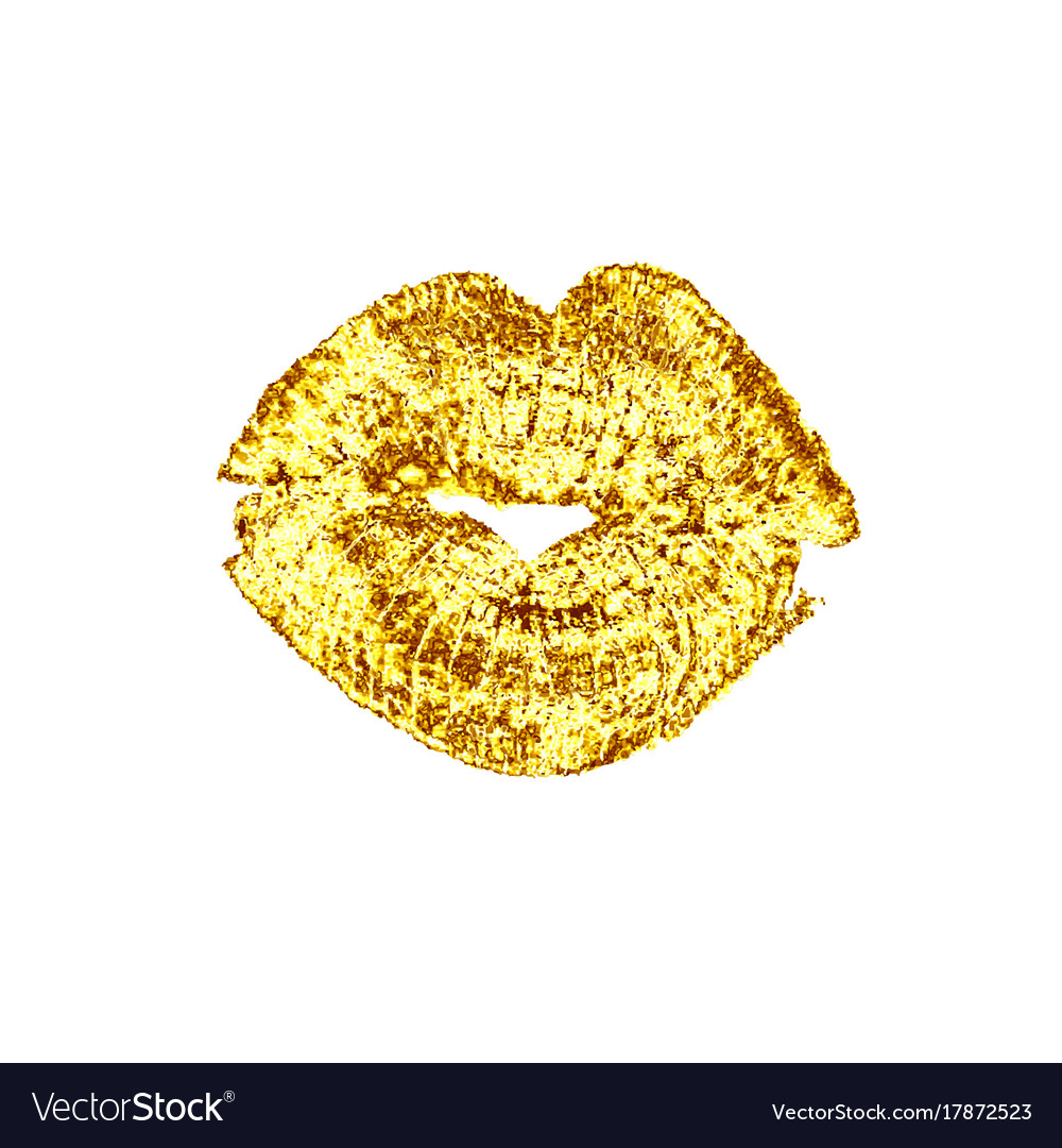 Beautiful golden luxury lips kiss