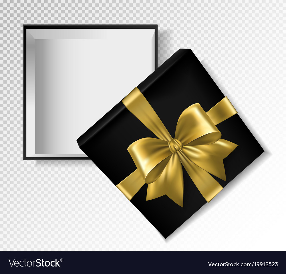 black gift box with gold ribbon and bow top view