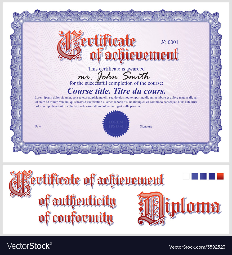 Blue Certificate Template Horizontal Royalty Free Vector