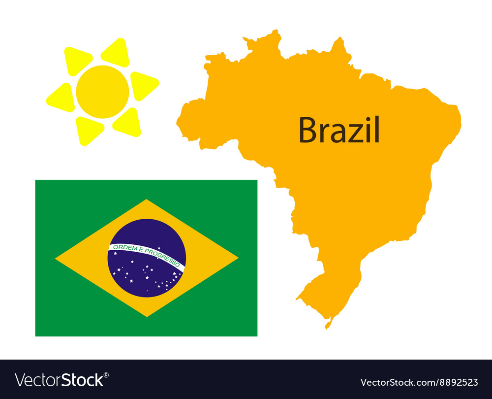 Brazil map and flag over white