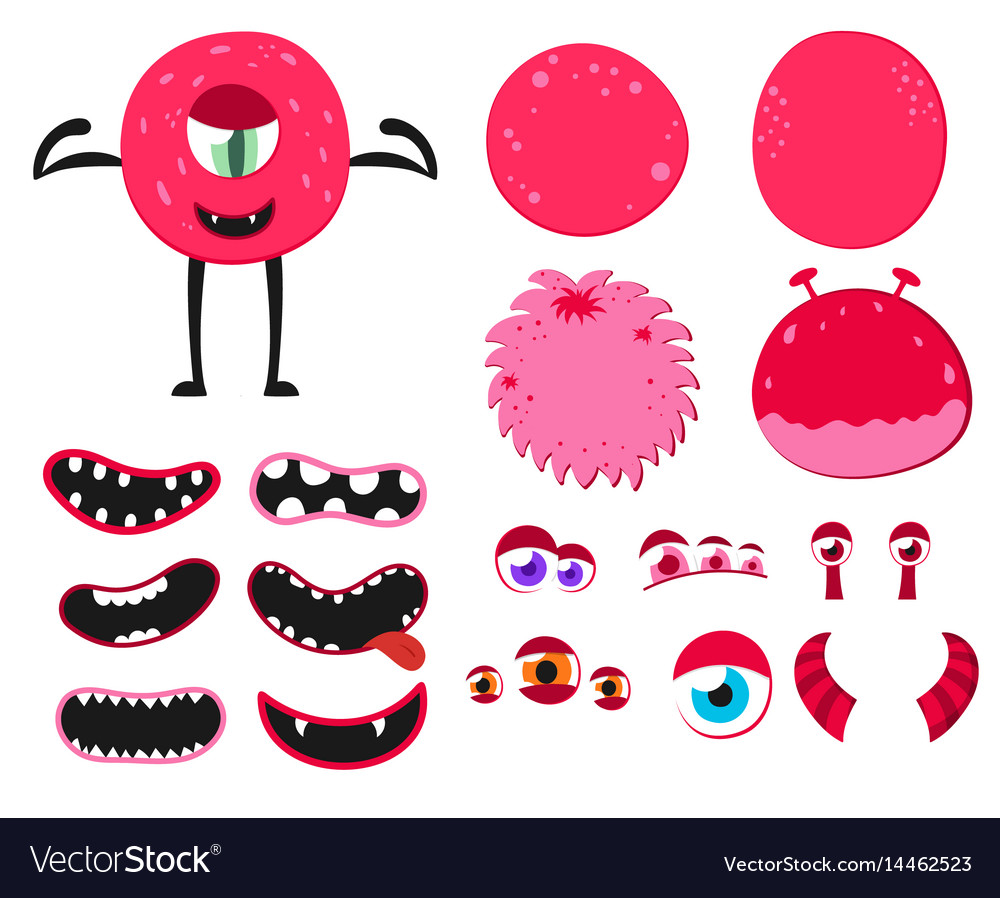 Cartoon funny monsters creation kit create your