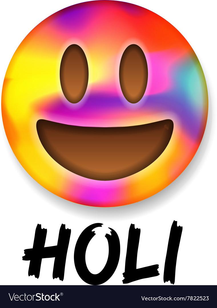 Colorful smiley emoticon indian festival Holi vector image