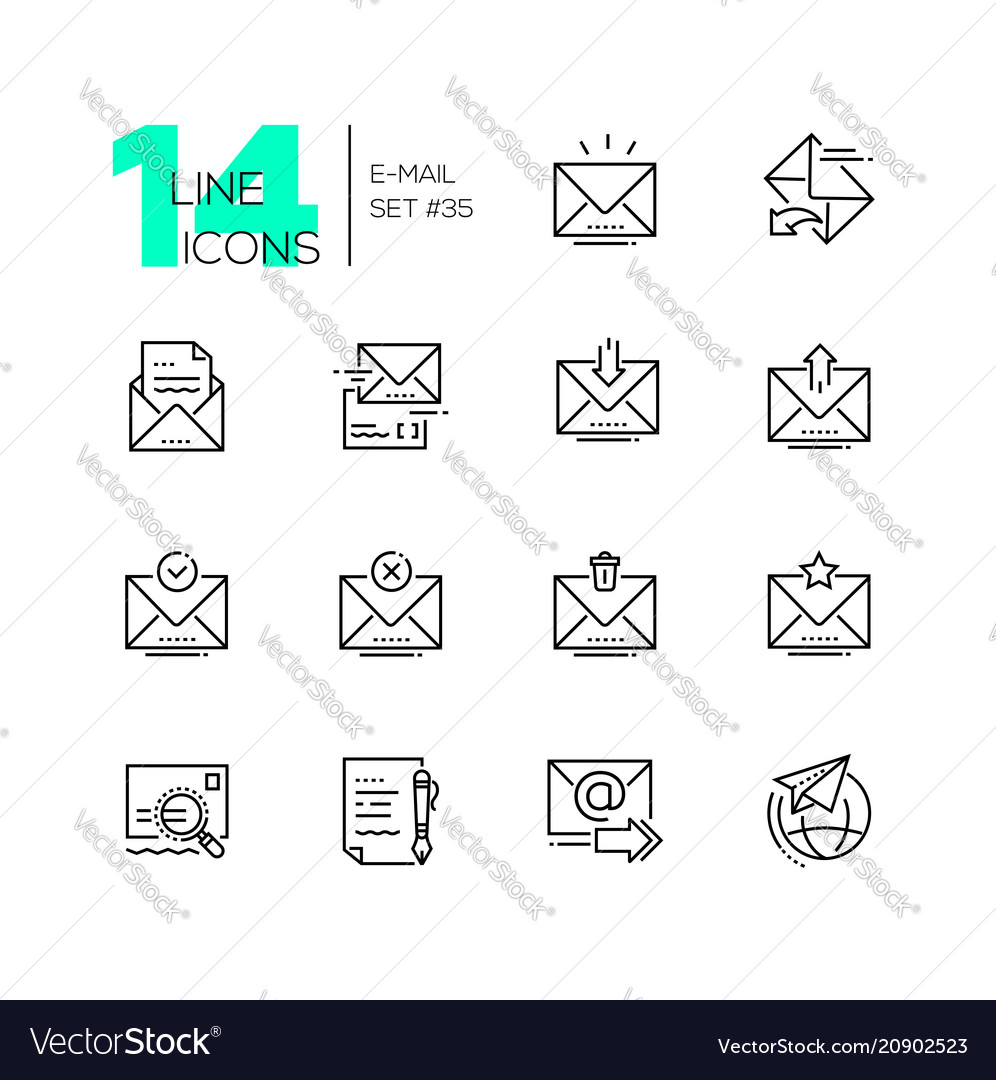 Email - set of line design style icons