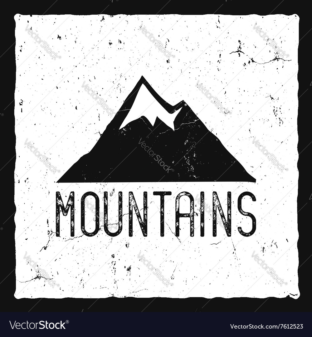 Hand drawn mountain poster wilderness old style