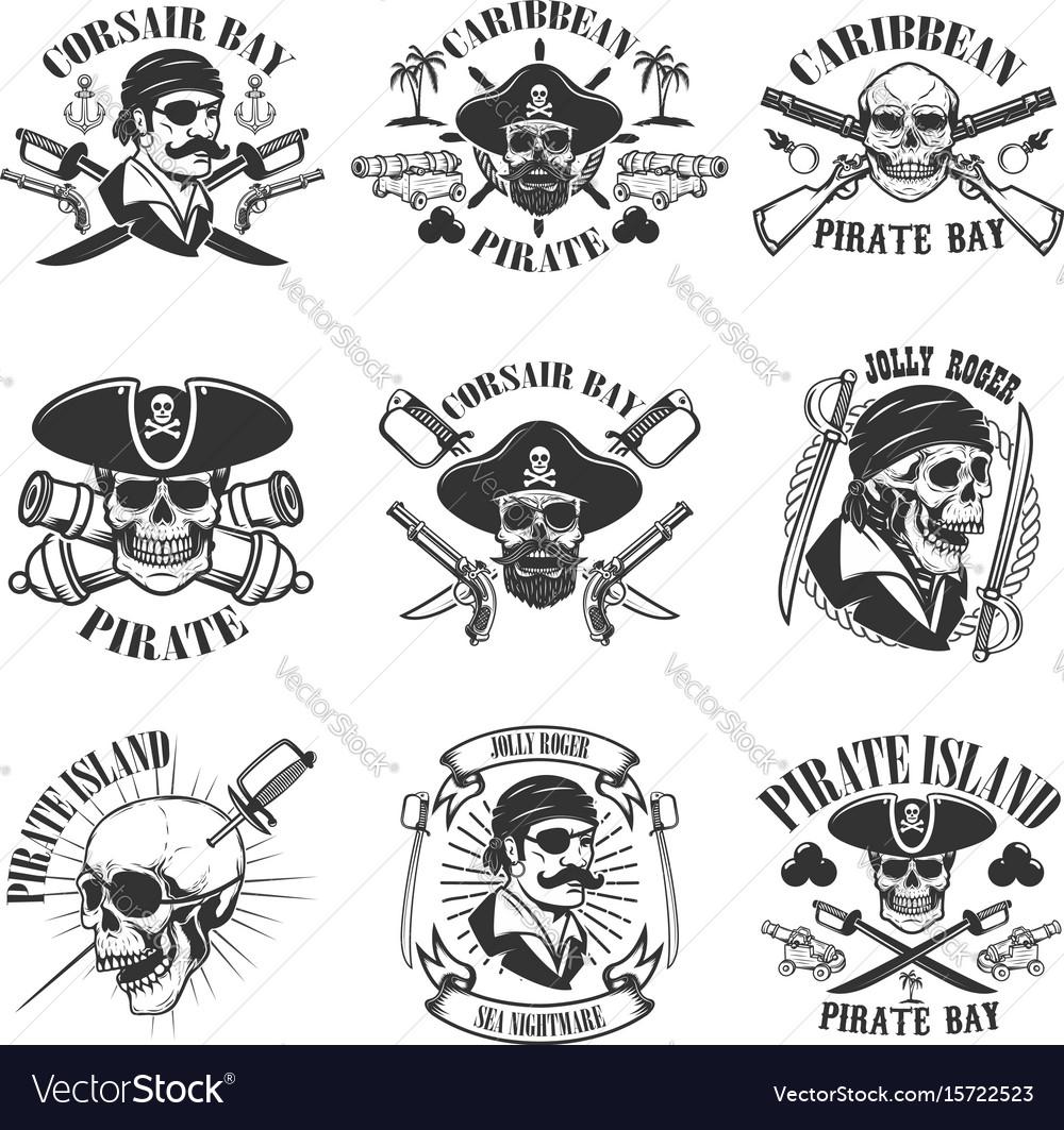 Pirate emblems onwhite background corsair skulls