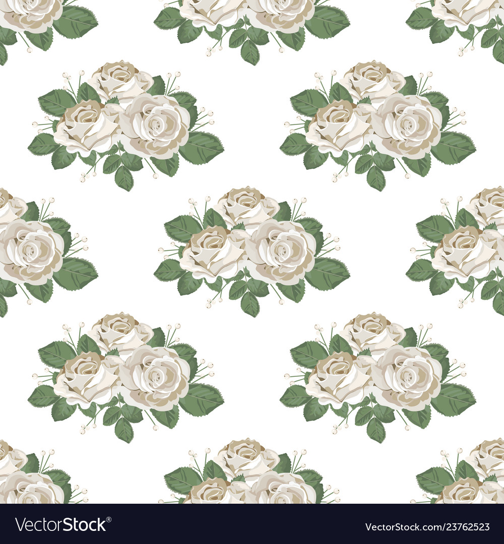 Retro floral seamless pattern roses on white