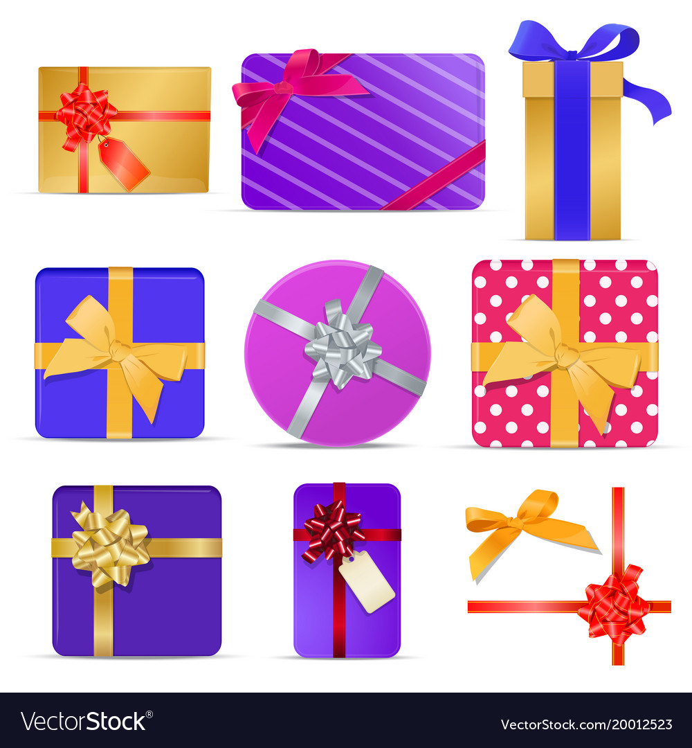 Set of gift boxes with ribbons and bows