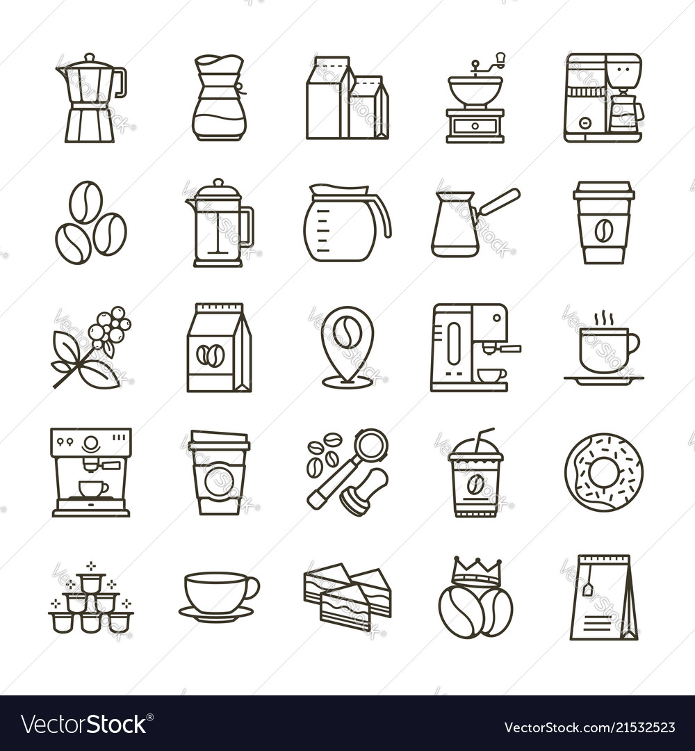 Simple set of coffee related line icons