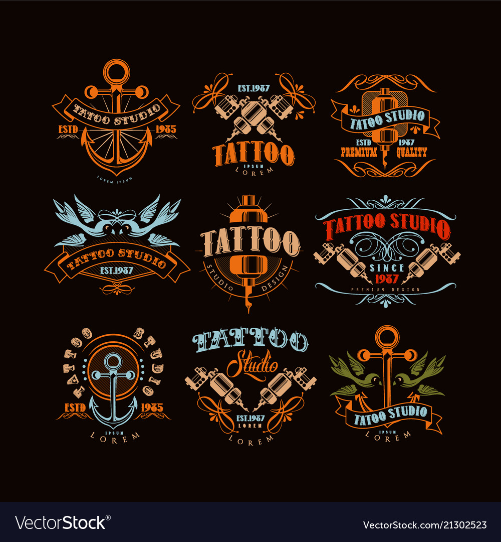 Tattoo studio logo design set retro styled