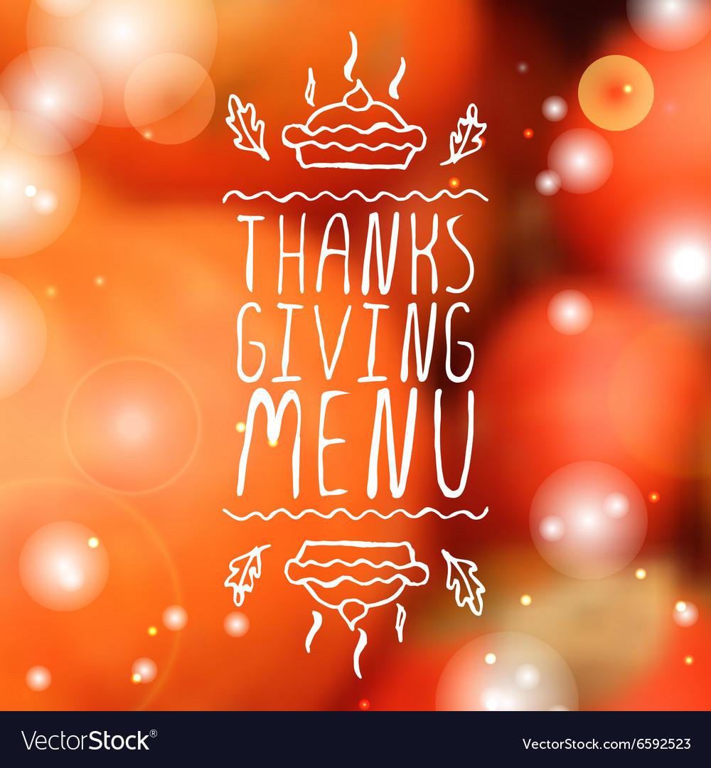 Thanksgiving menu - typographic element