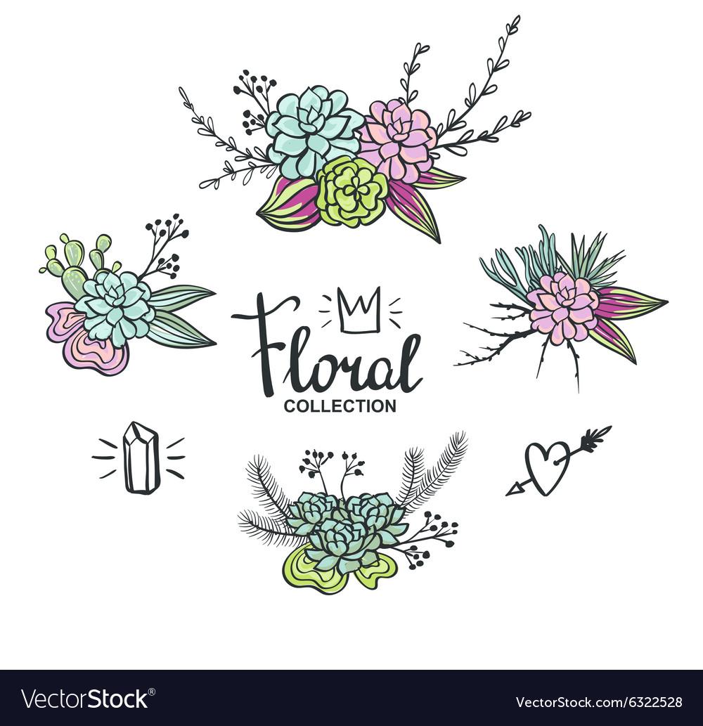 Boho wedding succulents decoration Floral set