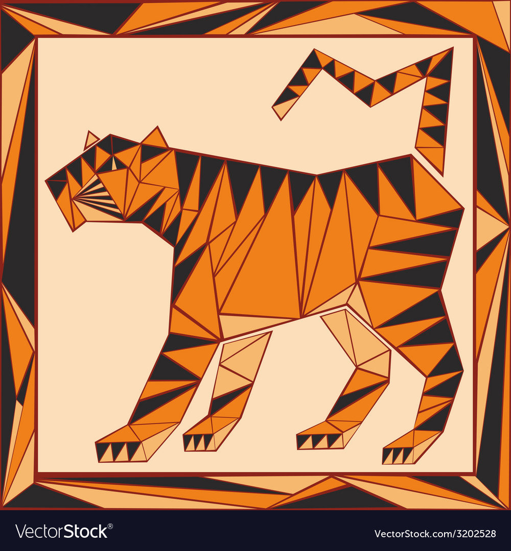 Chinese horoscope stylized stained glass tiger