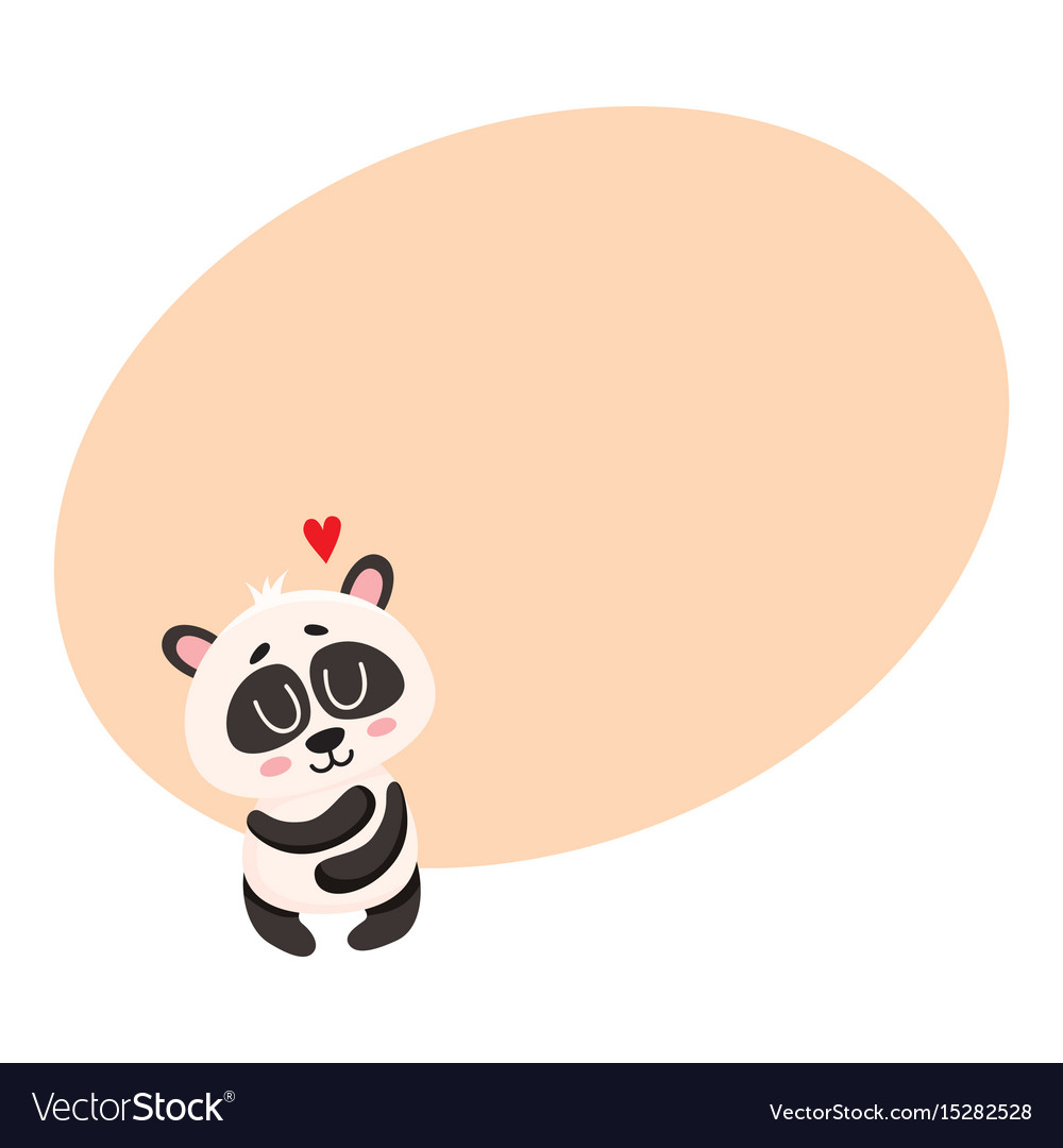 Cute and funny baby panda character hugging itself
