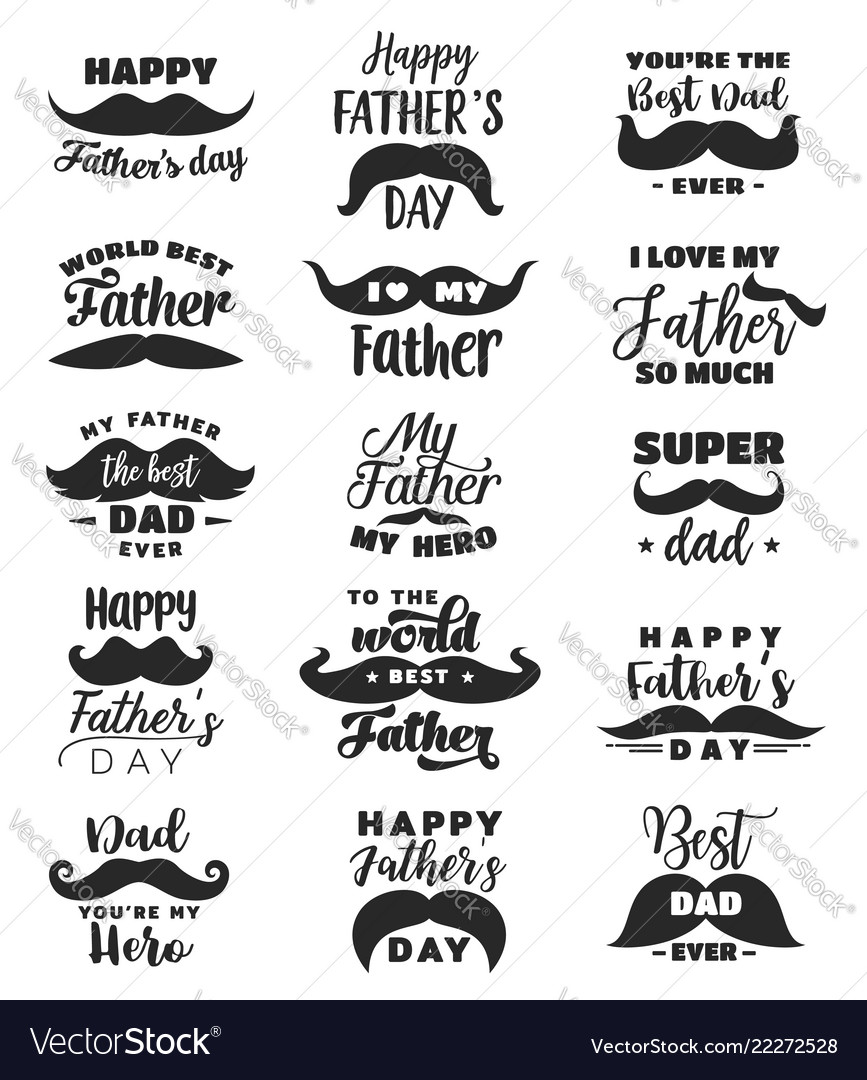 Father day greeting card with lettering moustache