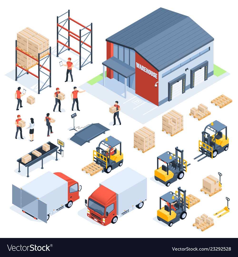 Isometric warehouse logistic cargo transport