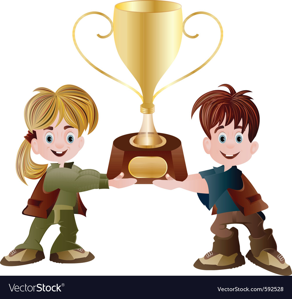 Kids Holding Trophy Vector Image
