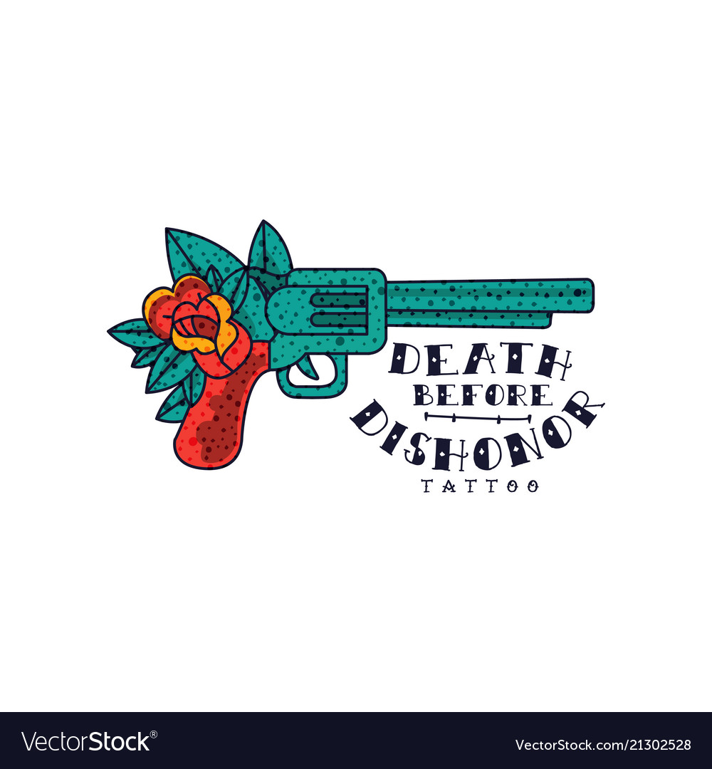 Retro revolver rose flower and words death before