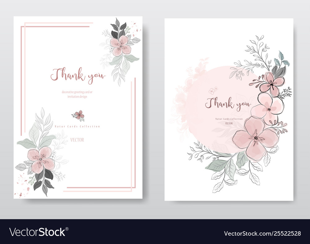Set beautiful pink flower with black line card