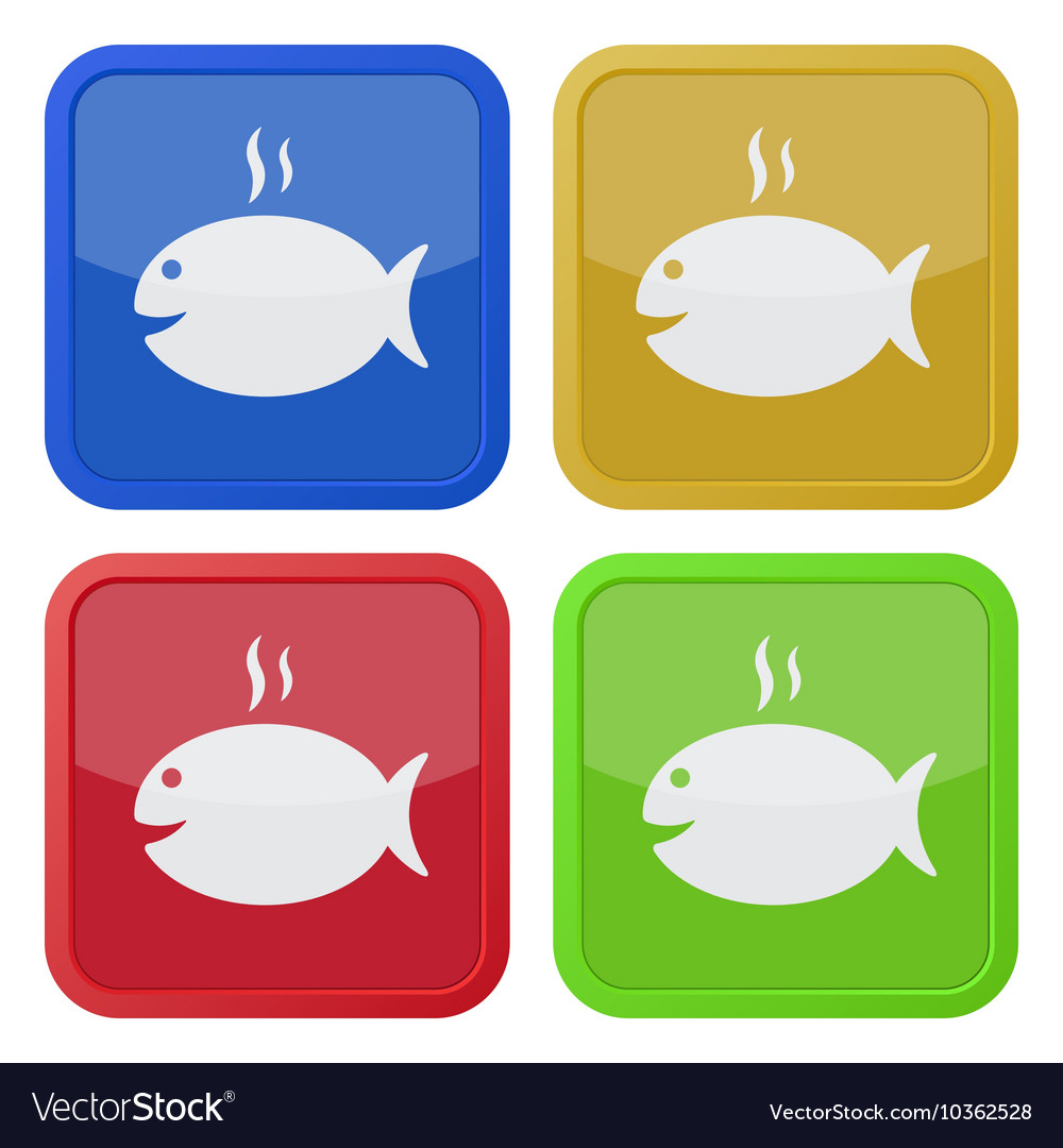 Set of four square icons - grilling fish and smoke