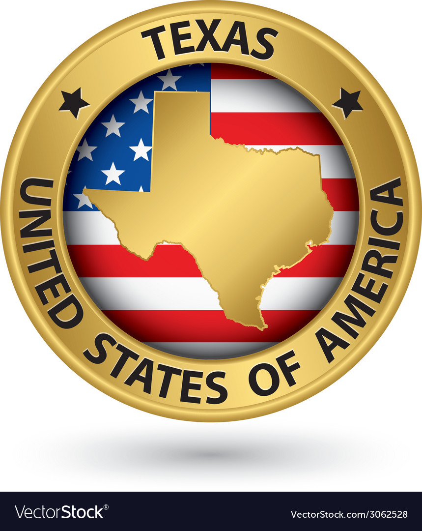 Texas state gold label with state map