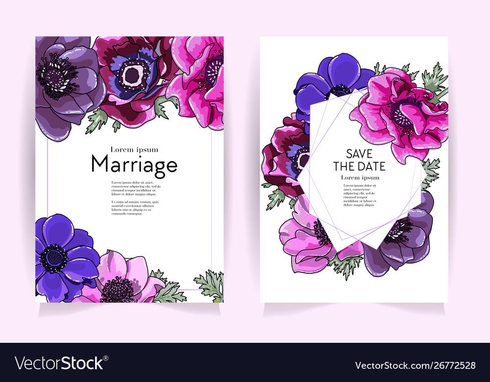 Wedding invitation frame set anemone flowers