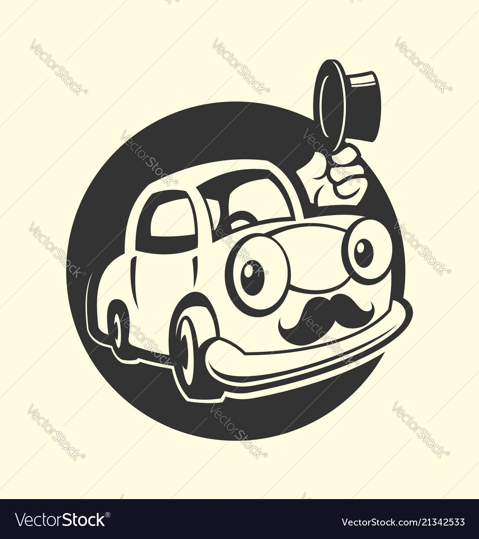 Car with moustache icon