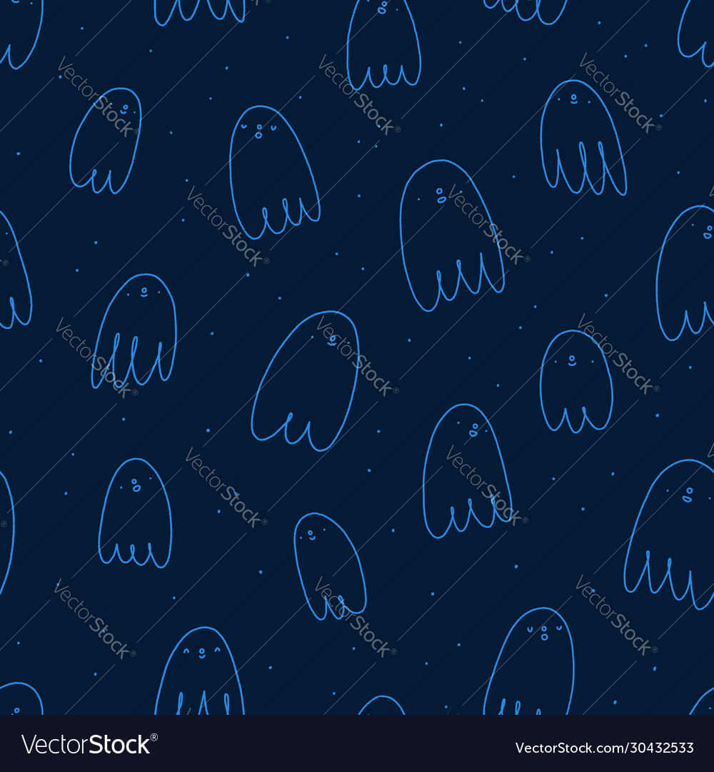 Cute halloween ghosts seamless pattern