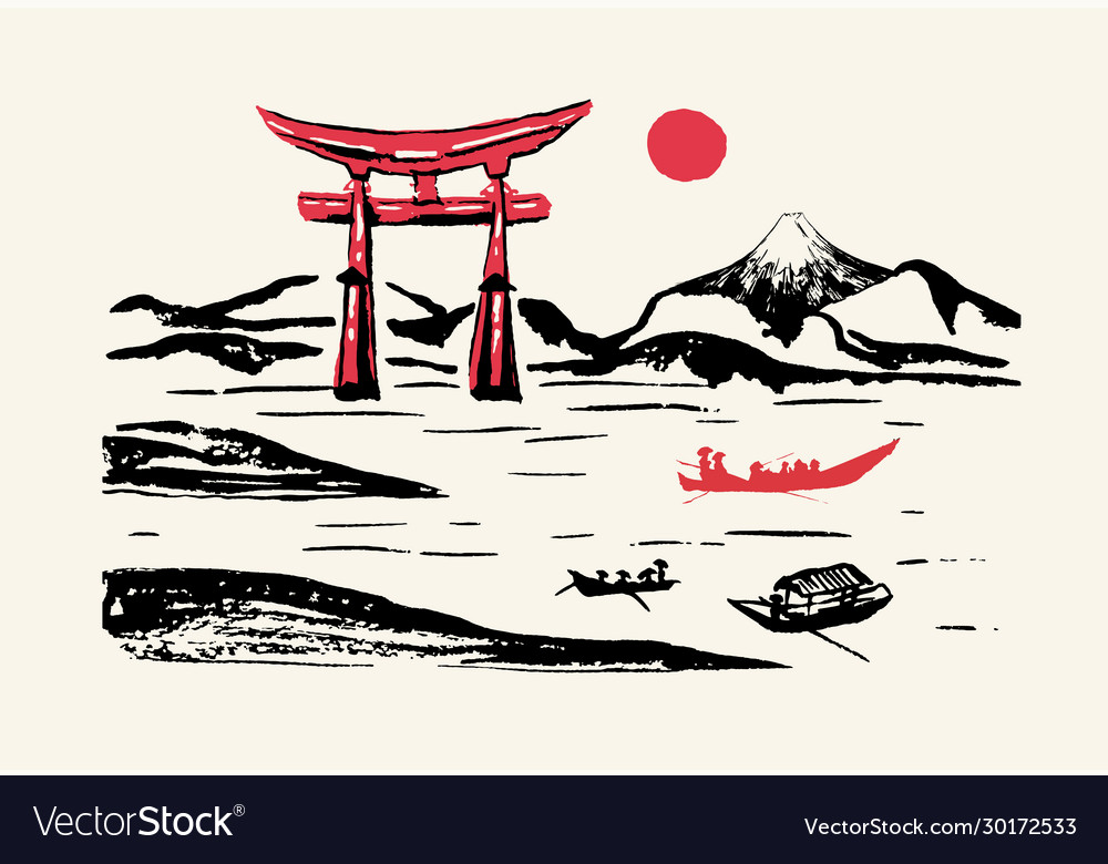 Fuji mountain red gates japan panorama ink brush
