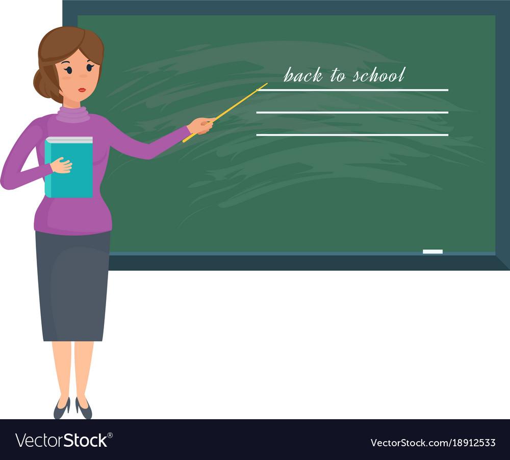 Girl teacher with school journal in hand stands